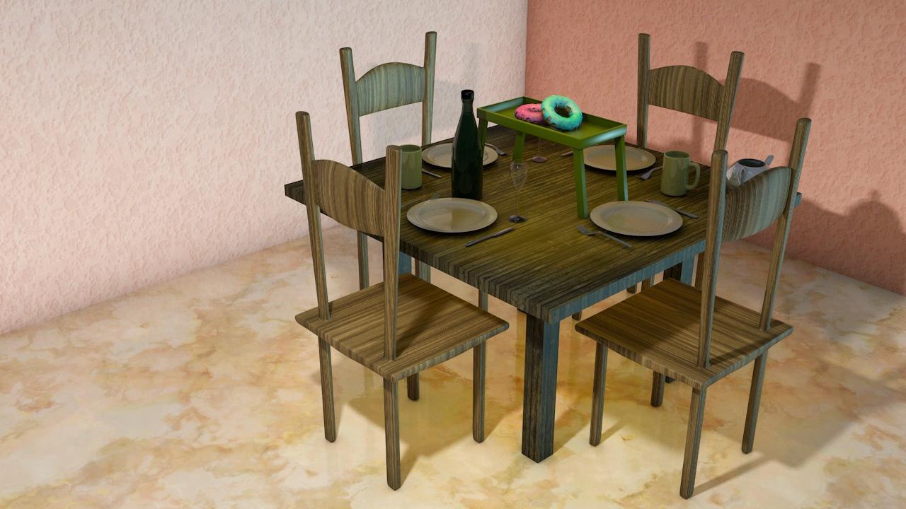 3d-illustratie-ontbijttafel